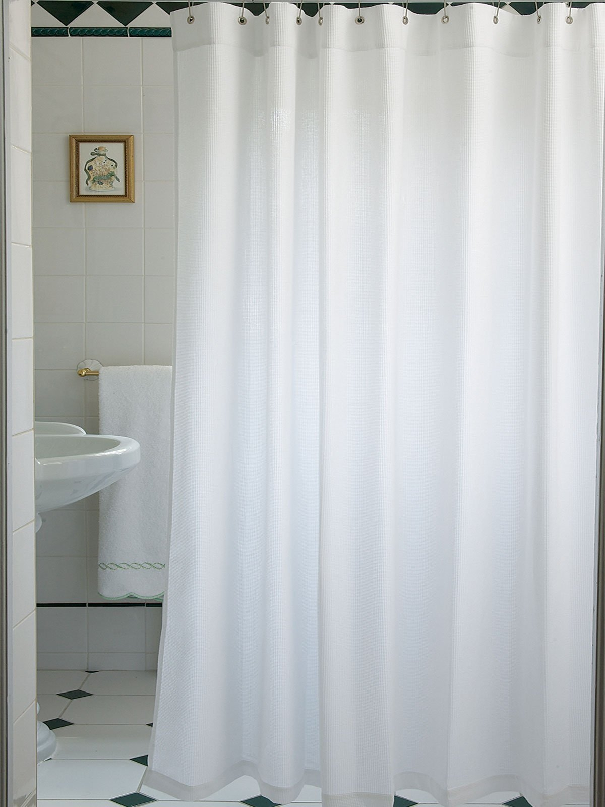 Extra long white shower curtain fabric curtain for Shower curtain savers