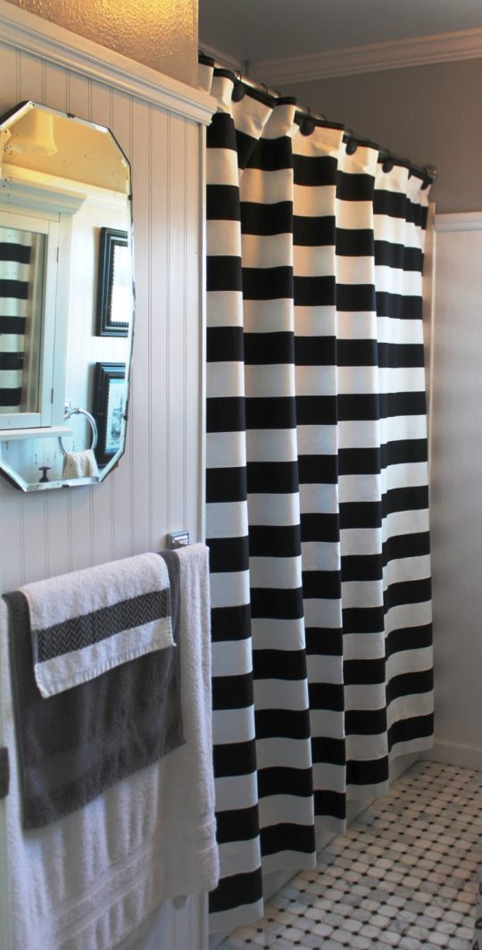 Permalink to Black White And Tan Shower Curtain