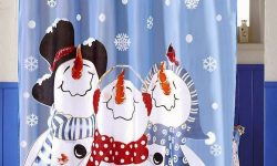 Blue Snowman Shower Curtain