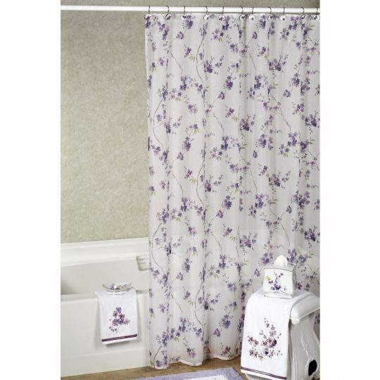 Permalink to Purple Floral Shower Curtain Set